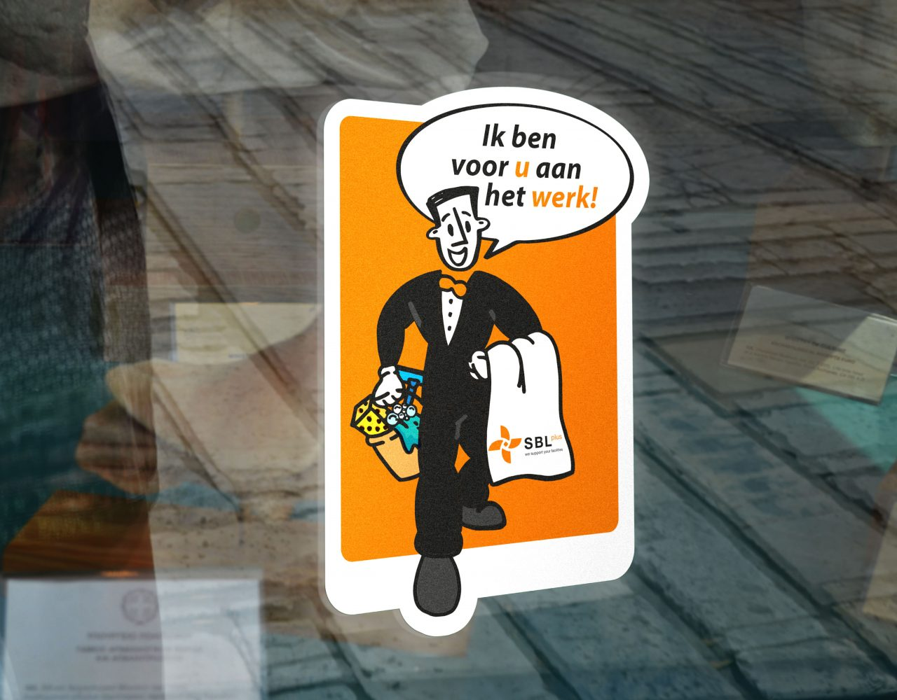 SBL plus sticker vormgeving merkpersona drukwerk
